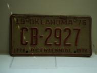 1976 OKLAHOMA Bicentennial License Plate CB 2927