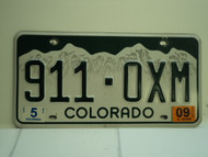 2009 COLORADO License Plate 911 OXM