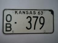 1963 KANSAS License Plate OB 379