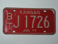 1974 KANSAS License Plate BT J 1726