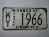 1963 KANSAS 8M Truck License Plate WY 1966