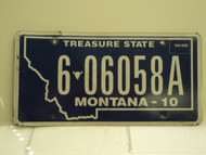 2010 MONTANA Treasure State License Plate 6 06958A