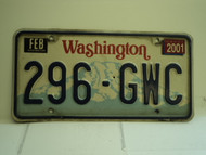 2001 WASHINGTON License Plate 296 GWC