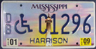 2009 Jan Mississippi DB C1296 License Plate