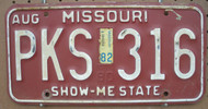1982 Aug Missouri PKS-316 License Plate DMV Clear YOM