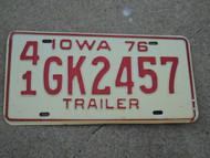 1976 IOWA Trailer License Plate 41 GK 2457