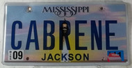 2011 Sep Mississippi Vanity License Plate CABRENE