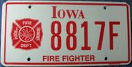 Iowa Fire Fighter License Plate 8817F