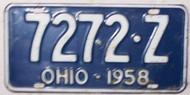 1958 Ohio 7272-Z License Plate