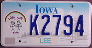 Iowa Love Our Kids License Plate 1