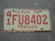 1976 IOWA Trailer License Plate 41 FU8402