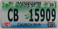 2007 Oct Mississippi Church Bus License Plate