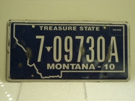 2010 MONTANA Treasure State License Plate 7 09730A