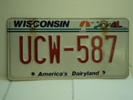 WISCONSIN America's Dairyland License Plate UCW 587