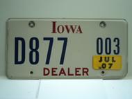 2007 IOWA Dealer License Plate  D877 003