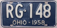 1958 Ohio RG-148 License Plate