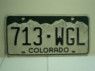 COLORADO License Plate 713 WGL