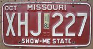 1980's Oct Missouri XHJ-227 License Plate DMV Clear YOM