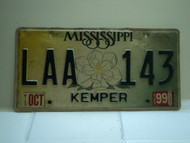 1999 MISSISSIPPI Magnolia License Plate LAA 143