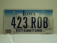 IOWA License Plate 423 ROB