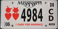 Jun Mississippi I care for Animals License Plate