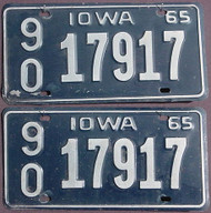 Pair 1965 Iowa License Plates Wapello Co 17917