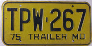 1975 Missouri TPW-267 Trailer License Plate