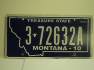 2010  MONTANA Treasure State License Plate 3 72632A