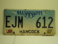 1997  MISSISSIPPI License Plate EJM 612