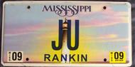 2009 Sept Mississippi JU License Plate