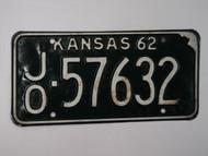 1962 KANSAS License Plate JO 57632
