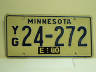 1980 MINNESOTA License Plate YG 24 272