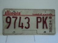 ILLINOIS Land of Lincoln B Truck License Plate 9743 PK