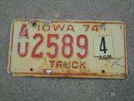 1974 IOWA 4 Ton Truck License Plate AU 2589