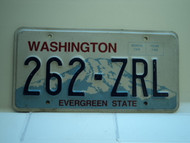 Washington Evergreen State License Plate 262 ZRL