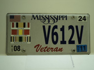 2011 MISSISSIPPI US Veteran License Plate V612V