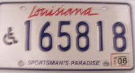 2006 May Louisiana License Plate Handicapped