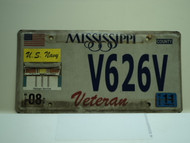 2011 MISSISSIPPI US Navy Veteran License Plate V626V