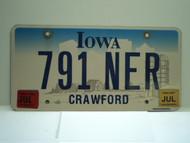 2005 2007 IOWA License Plate 791 NER