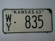 1963 KANSAS License Plate WY 835