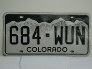 COLORADO License Plate 684 WUN