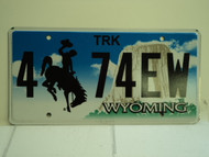 WYOMING Bucking Bronco Devils Tower Truck License Plate 4 74EW