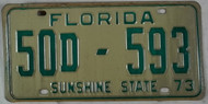 1973 Washington Co Florida License Plate 50D-593