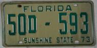 1973 Washington Co Florida License Plate 50D-593