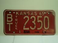 1965 KANSAS Farm Truck 8M License Plate BT 2350