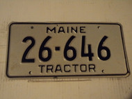 MAINE Tractor License Plate 26 646