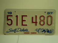 1987 SOUTH DAKOTA Centennial 1889 1989 License Plate 51E 480
