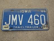 1986 1989 IOWA Travel Trailer License Plate JMV 460