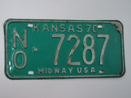 1970 KANSAS Midway USA License Plate NO 7287