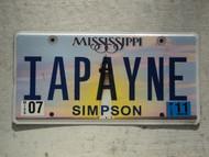 2011 MISSISSIPI Vanity License Plate IAPAYNE
